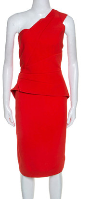 Roland Mouret Red Crepe One Shoulder Abuta Dress L