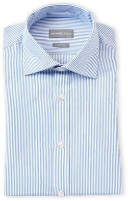 Michael Kors Cornflower Blue Stripe Slim Fit Dress Shirt