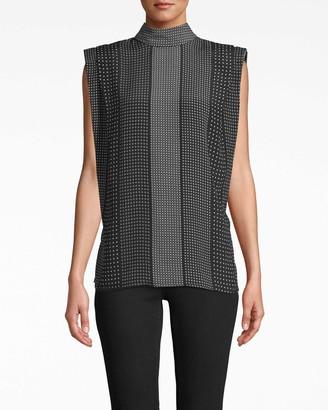 Nicole Miller Kaleidostripe Silk Top With Shoulder Flange