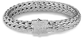 John Hardy Classic Chain Sterling Silver Large Bracelet with Diamond Pave