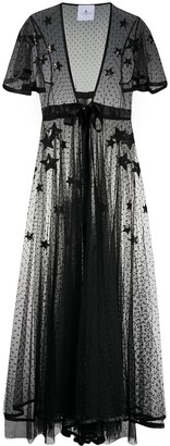 Annamode Silk Star Embroidered Sheer Dress