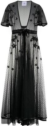 Silk Star Embroidered Sheer Dress