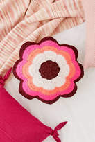Crochet Floral Throw Pillow