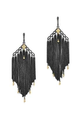 Armenta 18K Yellow Gold & Blackened Sterling Silver Old World Cravelli Champagne Diamond Chain Chandelier Earrings