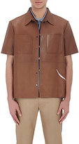 Valentino MEN'S ORCHID-APPLIQUÉD LEATHER SHIRT-TAN SIZE 50 EU
