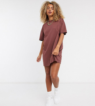 Collusion mini t shirt dress in brown