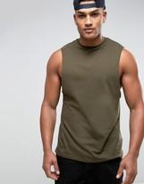 Asos Longline Sleeveless T-Shirt With Dropped Armhole