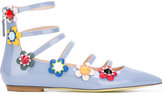 Fendi flower appliqué ballerinas - women - Calf Leather/Leather/Patent Leather/glass - 36.5