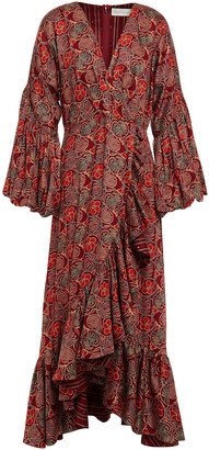 Sachin + Babi Wrap-effect Floral-print Cotton Midi Dress