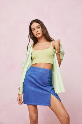 Nasty Gal Womens Textured Jacquard Split Hem Mini Skirt - Blue - 12