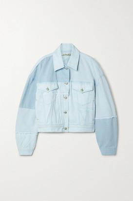 Acne Studios Net Sustain Oversized Frayed Patchwork Organic Denim Jacket - Light denim