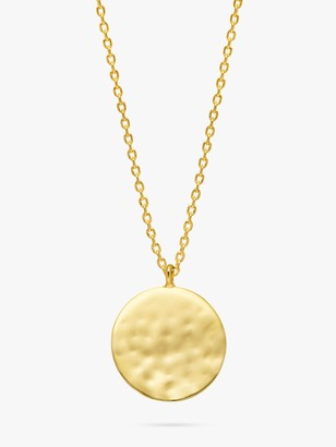 Estella Bartlett Hammered Disc Pendant Necklace, Gold