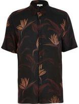 River Island MensBlack paradise floral print shirt