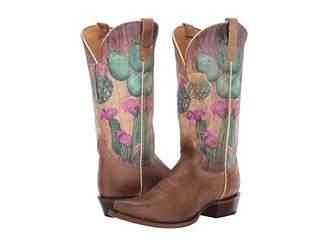 Roper Prickly Flextra (Waxy Tan Vamp/Cactus Print) Cowboy Boots