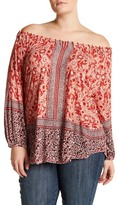Lucky Brand Placed Peasant Blouse (Plus Size)