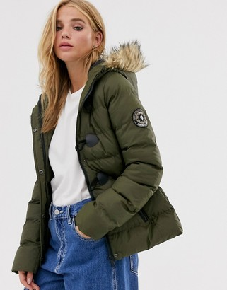 Brave Soul wizard padded coat with faux fur hood-Green