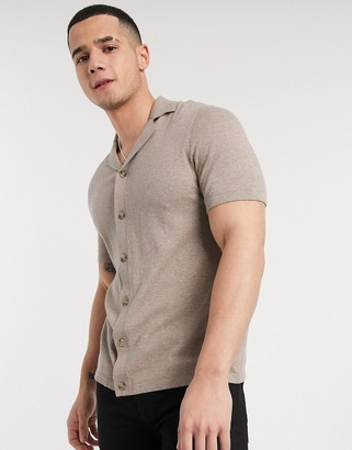 ASOS DESIGN knitted button through polo t-shirt in mink