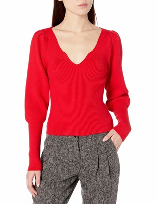 ASTR the Label Women's Marina Scallop Neck Ribbed Sweater Top