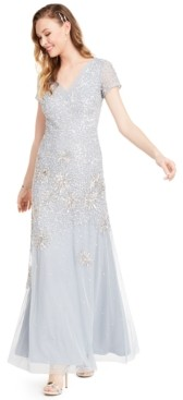 Adrianna Papell Embellished Short-Sleeve Trumpet Gown