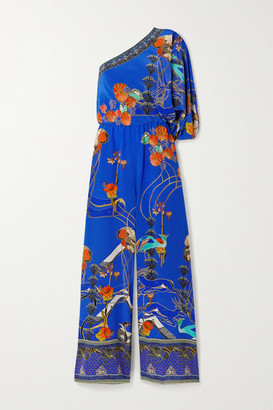 Camilla One-sleeve Printed Silk Crepe De Chine Jumpsuit - Royal blue