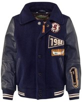 Scotch Shrunk Navy Varsity Jacket With Leather Sleeves