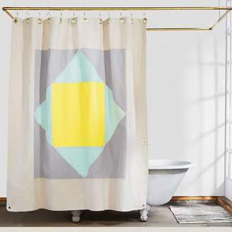west elm Quiet Town Home Narlai Shower Curtain - Mint