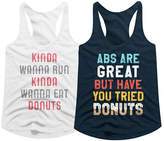 American Classics Women's Tank Tops WHITE/MIDNIGHT - White & Midnight Navy 'Kinda Wanna Run' Racerback Tank Set - Women