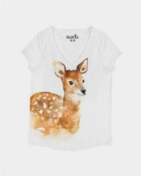 Le Petit Drugstore - White Cotton Bambi Print Short Sleeve T Shirt - cotton | white | small - White/White