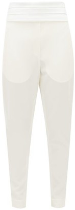 Balmain Pleated-satin Wool-crepe Trousers - White