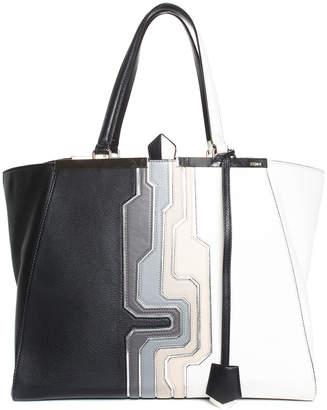 Fendi Black & White Leather Large Tote
