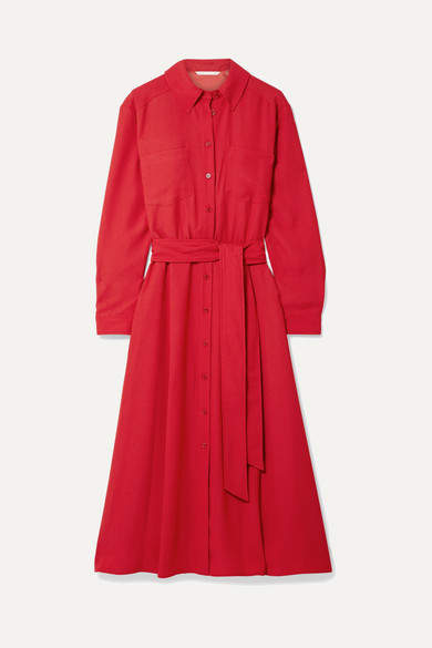 Veronica Beard Cary Belted Crepe Midi Dress - Red