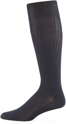 Pantherella Over-the-Calf Ribbed Lisle Socks
