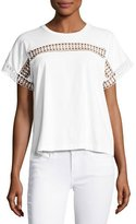 Burberry Lace-Insert Cotton Tee, White