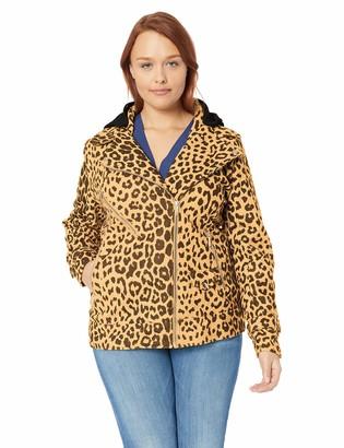 Yoki Women's Plus Size Leopard Print Short Wool Jacket