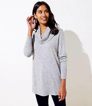 LOFT Petite Flecked Luxe Knit Cowl Neck Tunic Sweater