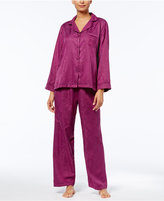 Miss Elaine Brushed-Back Printed Satin Pajama Set