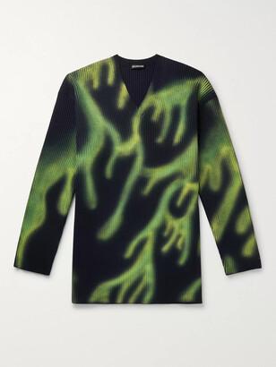 Balenciaga Printed Ribbed Wool-Blend Sweater
