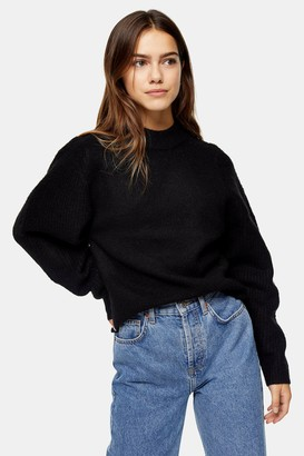Topshop Womens Petite Black Ribbed Knitted Jumper - Black