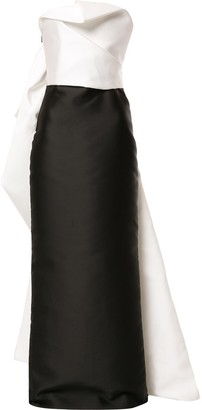 Isabel Sanchis Strapless Draped-Back Column Gown