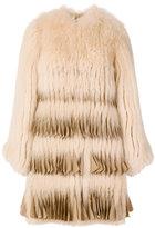 Givenchy pleated-hem coat - women - Silk/Fox Fur - 36