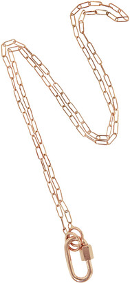 Marla Aaron Rose Gold Baby Lock with 16 Inch Rose Gold Square Link Chain Necklace