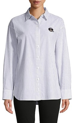 Karl Lagerfeld Paris Patch Pinstripe Shirt