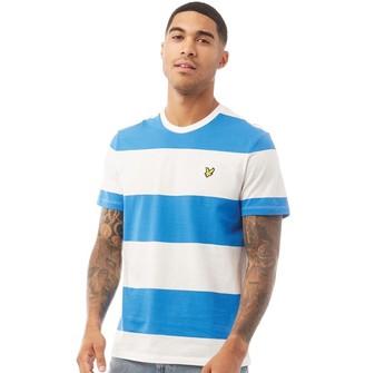 Lyle And Scott Vintage Mens Wide Stripe T-Shirt Z797 Bright Royal Blue