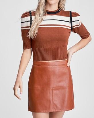 Express En Saison Retro Stripe Cropped Short Sleeve Sweater