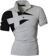 jeansian Men's Casual Slim Fit Short Sleeves Polo Shirt T-Shirt Tops U009 L