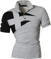 jeansian Men's Casual Slim Fit Short Sleeves Polo Shirt T-Shirt Tops U009 S