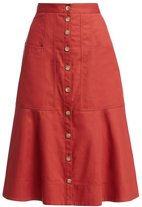 Tibi Harrison Chino Flare Skirt