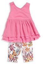 Splendid Baby Girl's Surplice Tunic and Palm Print Shorts