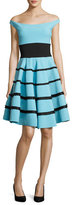 La Petite Robe di Chiara Boni Nicoletta Off-the-Shoulder Striped Circle Cocktail Dress, Blue/Black