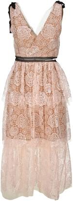 Self-Portrait Starlet Rose Lace Midi Dress